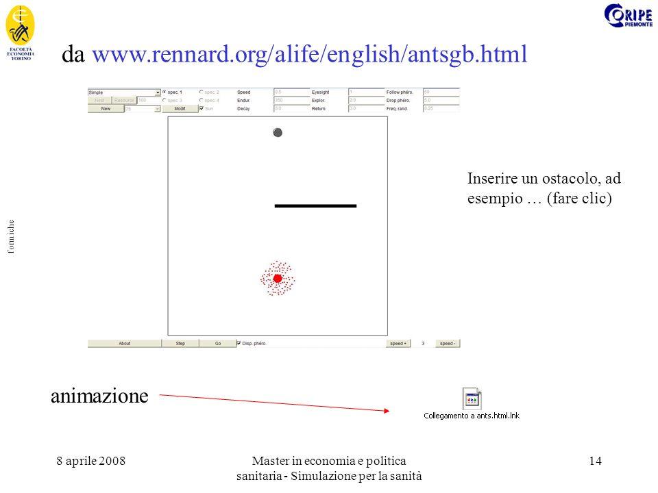 8 aprile 2008Master in economia e politica sanitaria - Simulazione per la sanità 14 da www.rennard.org/alife/english/antsgb.html animazione Inserire un ostacolo, ad esempio … (fare clic) __ formiche