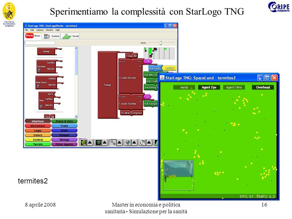 8 aprile 2008Master in economia e politica sanitaria - Simulazione per la sanità 16 Sperimentiamo la complessità con StarLogo TNG termites2