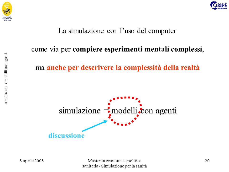 8 aprile 2008Master in economia e politica sanitaria - Simulazione per la sanità 20 simulazione e modelli con agenti La simulazione con luso del computer come via per compiere esperimenti mentali complessi, ma anche per descrivere la complessità della realtà simulazione = modelli con agenti discussione