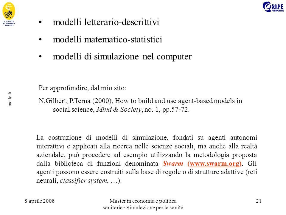 8 aprile 2008Master in economia e politica sanitaria - Simulazione per la sanità 21 modelli modelli letterario-descrittivi modelli matematico-statistici modelli di simulazione nel computer Per approfondire, dal mio sito: N.Gilbert, P.Terna (2000), How to build and use agent-based models in social science, Mind & Society, no.