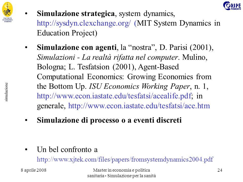 8 aprile 2008Master in economia e politica sanitaria - Simulazione per la sanità 24 simulazione Simulazione strategica, system dynamics, http://sysdyn.clexchange.org/ (MIT System Dynamics in Education Project) Simulazione con agenti, la nostra, D.