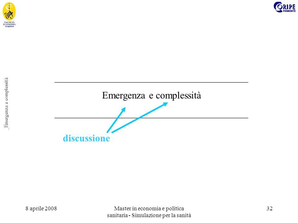 8 aprile 2008Master in economia e politica sanitaria - Simulazione per la sanità 32 _Emergenza e complessità _______________________________________ Emergenza e complessità _______________________________________ discussione