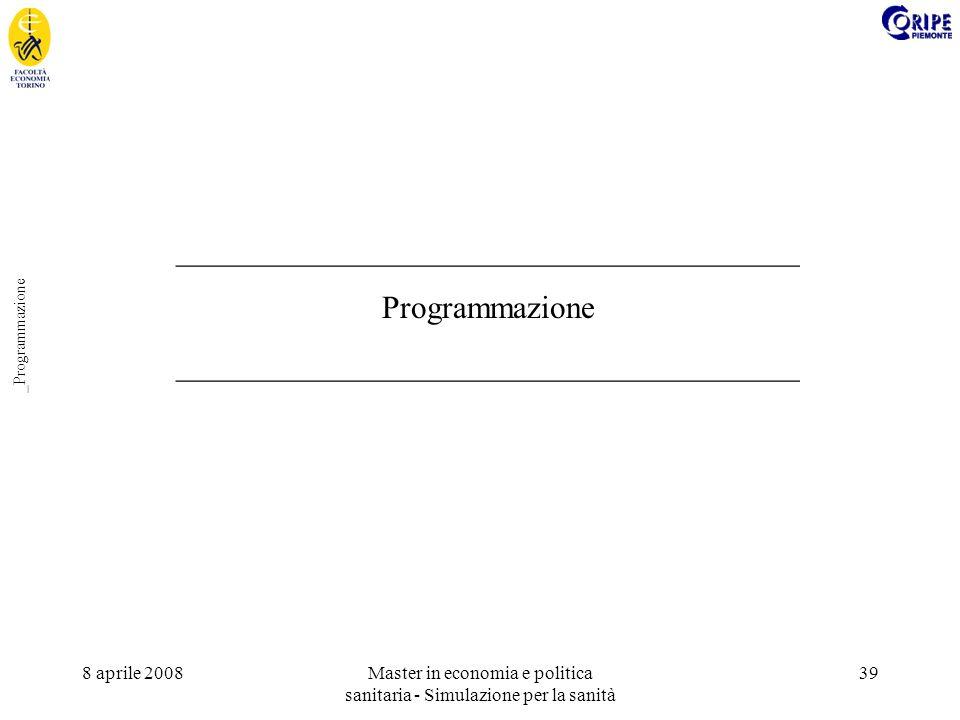 8 aprile 2008Master in economia e politica sanitaria - Simulazione per la sanità 39 _Programmazione _______________________________________ Programmazione _______________________________________