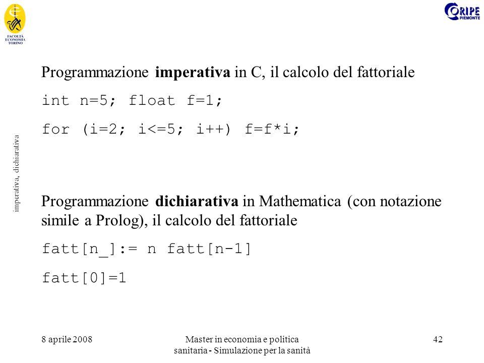 8 aprile 2008Master in economia e politica sanitaria - Simulazione per la sanità 42 imperativa, dichiarativa Programmazione imperativa in C, il calcolo del fattoriale int n=5; float f=1; for (i=2; i<=5; i++) f=f*i; Programmazione dichiarativa in Mathematica (con notazione simile a Prolog), il calcolo del fattoriale fatt[n_]:= n fatt[n-1] fatt[0]=1