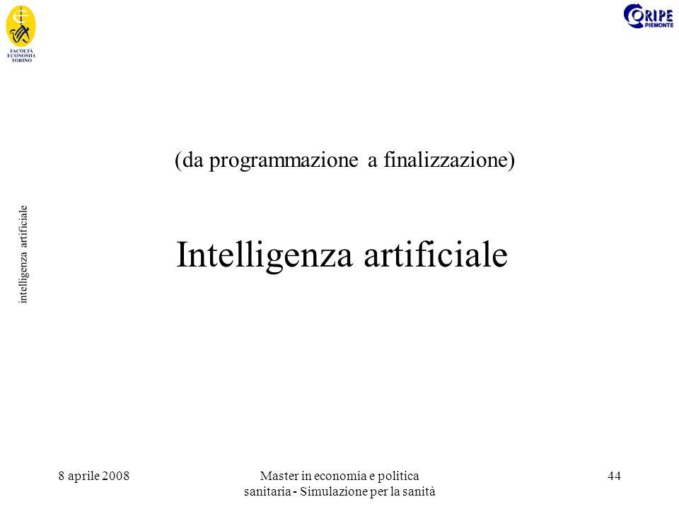 8 aprile 2008Master in economia e politica sanitaria - Simulazione per la sanità 44 intelligenza artificiale Intelligenza artificiale (da programmazione a finalizzazione)