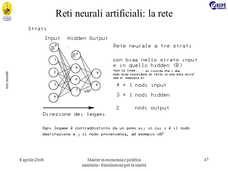 8 aprile 2008Master in economia e politica sanitaria - Simulazione per la sanità 47 rete neurale Reti neurali artificiali: la rete