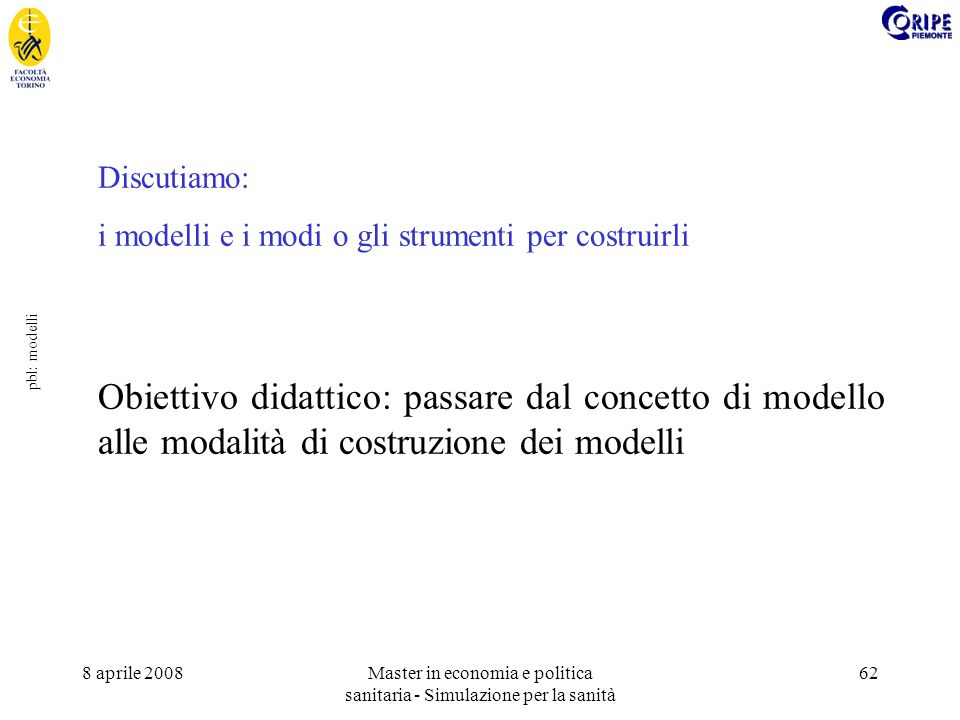 8 aprile 2008Master in economia e politica sanitaria - Simulazione per la sanità 62 pbl: modelli Discutiamo: i modelli e i modi o gli strumenti per costruirli Obiettivo didattico: passare dal concetto di modello alle modalità di costruzione dei modelli
