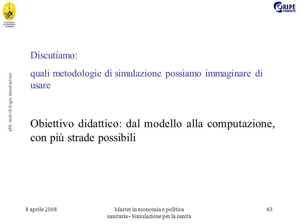 8 aprile 2008Master in economia e politica sanitaria - Simulazione per la sanità 63 pbl: metodologie simulazione Discutiamo: quali metodologie di simulazione possiamo immaginare di usare Obiettivo didattico: dal modello alla computazione, con più strade possibili
