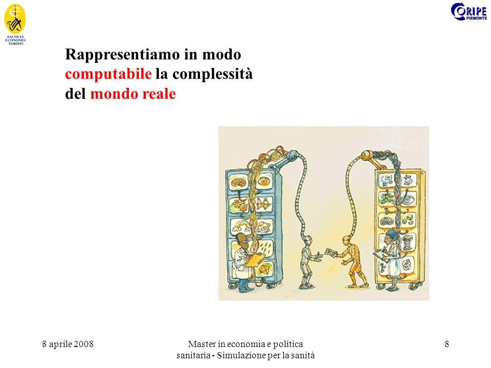 8 aprile 2008Master in economia e politica sanitaria - Simulazione per la sanità 8 Rappresentiamo in modo computabile la complessità del mondo reale