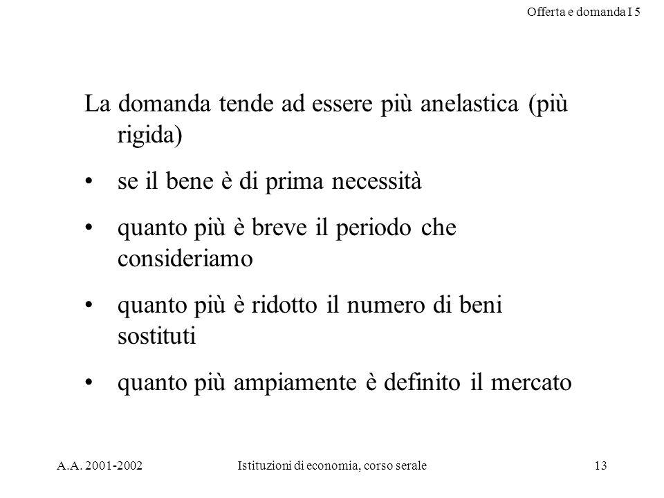Offerta e domanda I 5 A.A. 2001-2002Istituzioni di economia, corso serale13 La domanda tende ad essere più anelastica (più rigida) se il bene è di pri