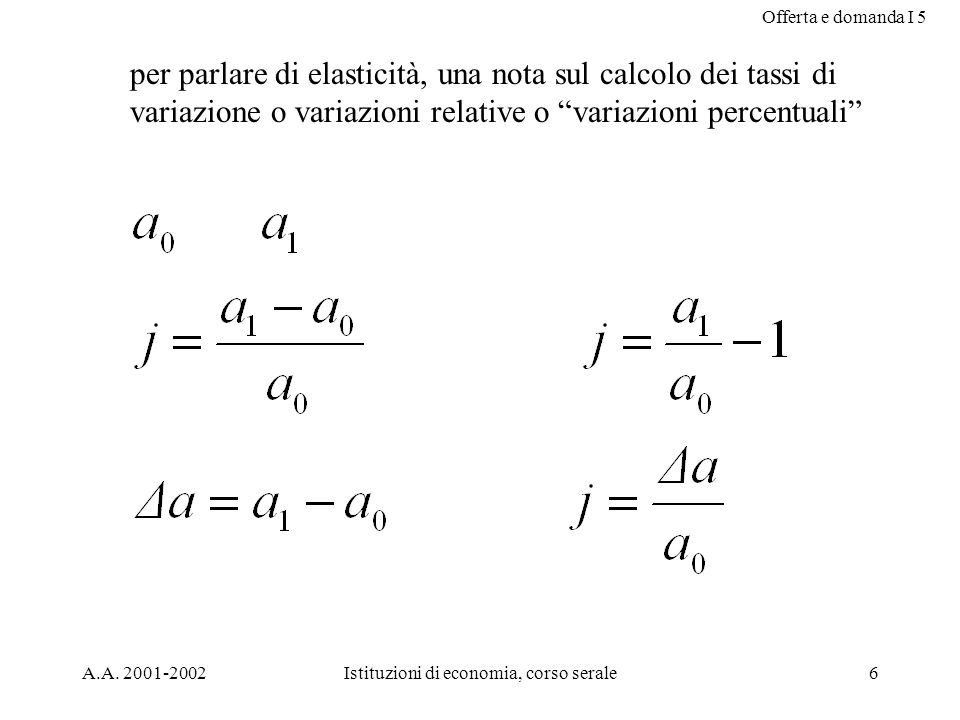 Offerta e domanda I 5 A.A. 2001-2002Istituzioni di economia, corso serale6 per parlare di elasticità, una nota sul calcolo dei tassi di variazione o v