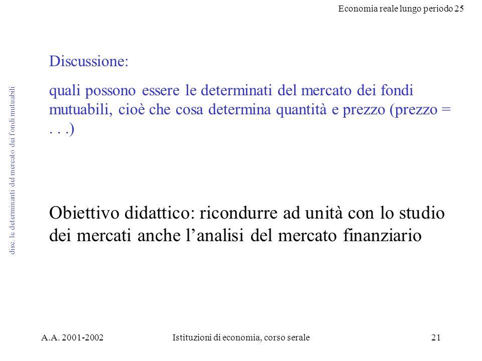 Economia reale lungo periodo 25 A.A. 2001-2002Istituzioni di economia, corso serale21 disc.