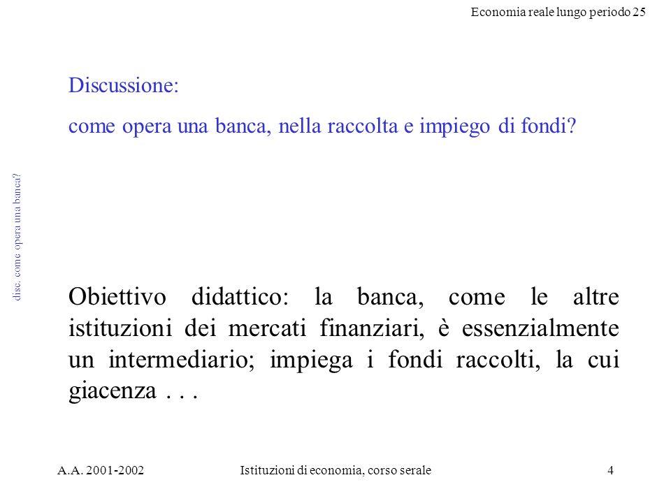 Economia reale lungo periodo 25 A.A. 2001-2002Istituzioni di economia, corso serale4 disc.