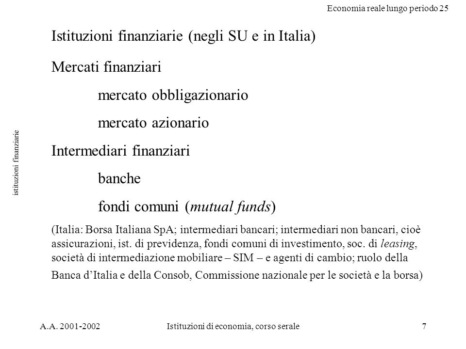 Economia reale lungo periodo 25 A.A.