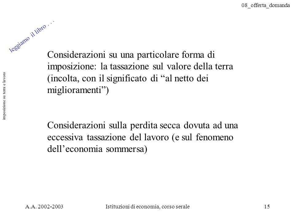 08_offerta_domanda A.A. 2002-2003Istituzioni di economia, corso serale15 Considerazioni su una particolare forma di imposizione: la tassazione sul val