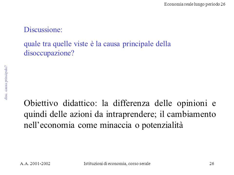 Economia reale lungo periodo 26 A.A. 2001-2002Istituzioni di economia, corso serale26 disc.