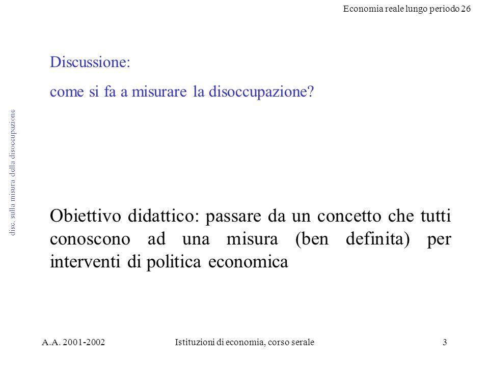 Economia reale lungo periodo 26 A.A. 2001-2002Istituzioni di economia, corso serale3 disc.
