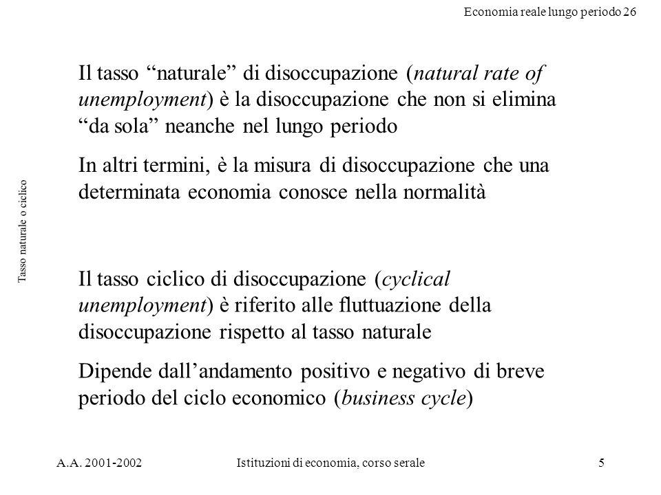 Economia reale lungo periodo 26 A.A.2001-2002Istituzioni di economia, corso serale26 disc.