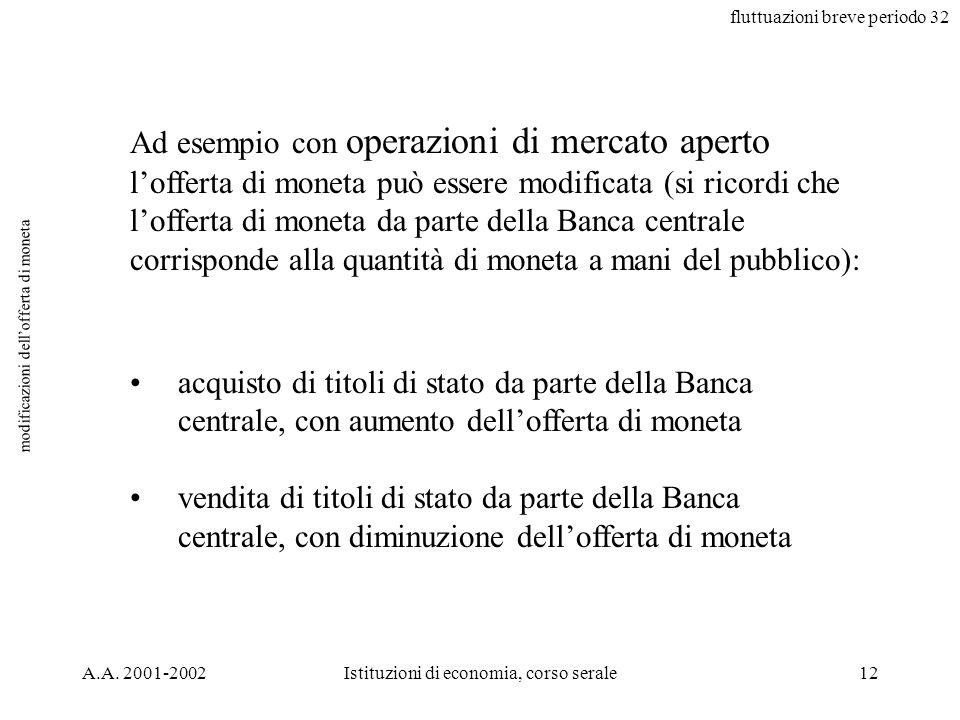 fluttuazioni breve periodo 32 A.A. 2001-2002Istituzioni di economia, corso serale12 modificazioni dellofferta di moneta Ad esempio con operazioni di m