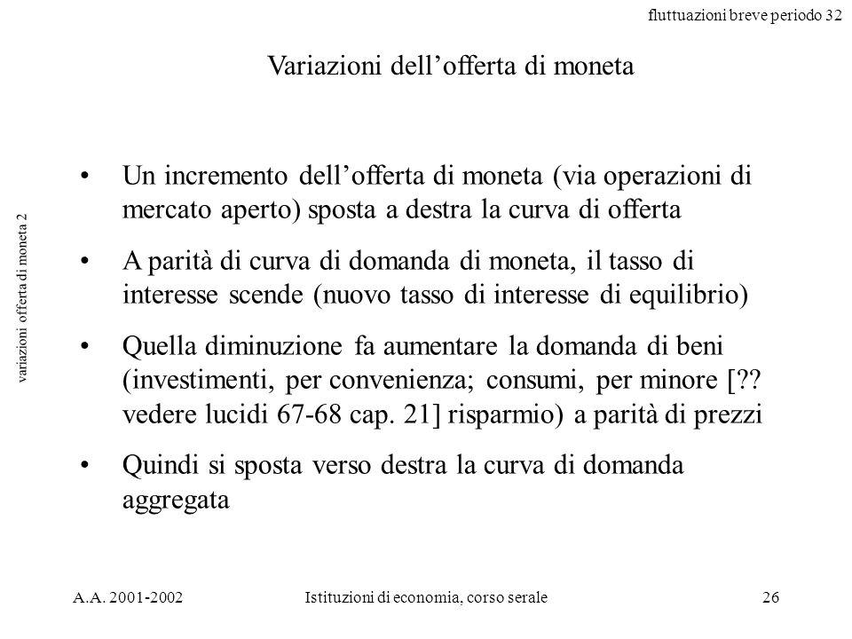 fluttuazioni breve periodo 32 A.A. 2001-2002Istituzioni di economia, corso serale26 variazioni offerta di moneta 2 Variazioni dellofferta di moneta Un