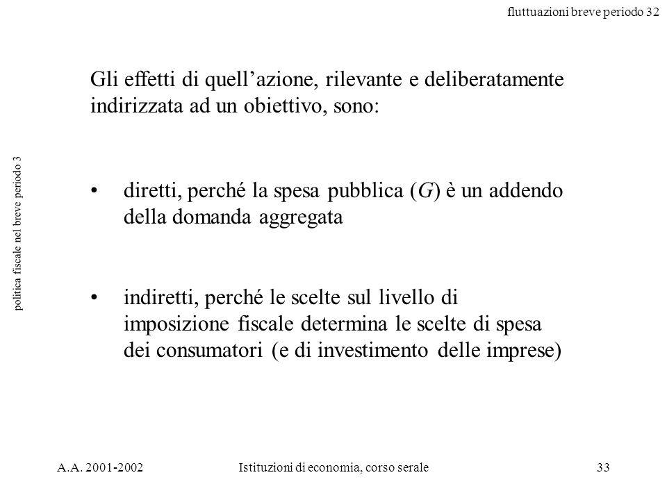 fluttuazioni breve periodo 32 A.A. 2001-2002Istituzioni di economia, corso serale33 politica fiscale nel breve periodo 3 Gli effetti di quellazione, r