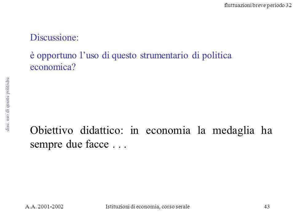 fluttuazioni breve periodo 32 A.A. 2001-2002Istituzioni di economia, corso serale43 disc. uso di queste politiche Discussione: è opportuno luso di que