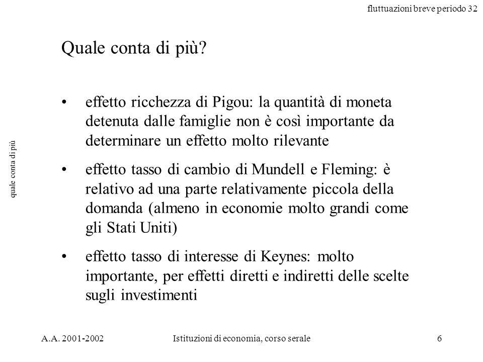 fluttuazioni breve periodo 32 A.A. 2001-2002Istituzioni di economia, corso serale6 quale conta di più effetto ricchezza di Pigou: la quantità di monet