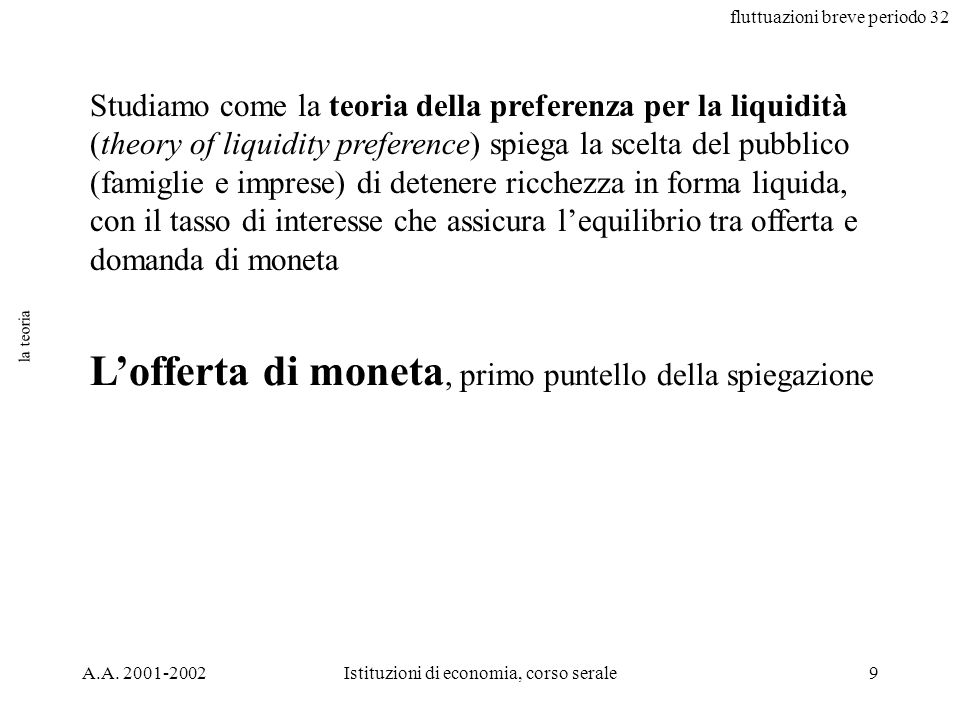fluttuazioni breve periodo 32 A.A. 2001-2002Istituzioni di economia, corso serale9 la teoria Studiamo come la teoria della preferenza per la liquidità