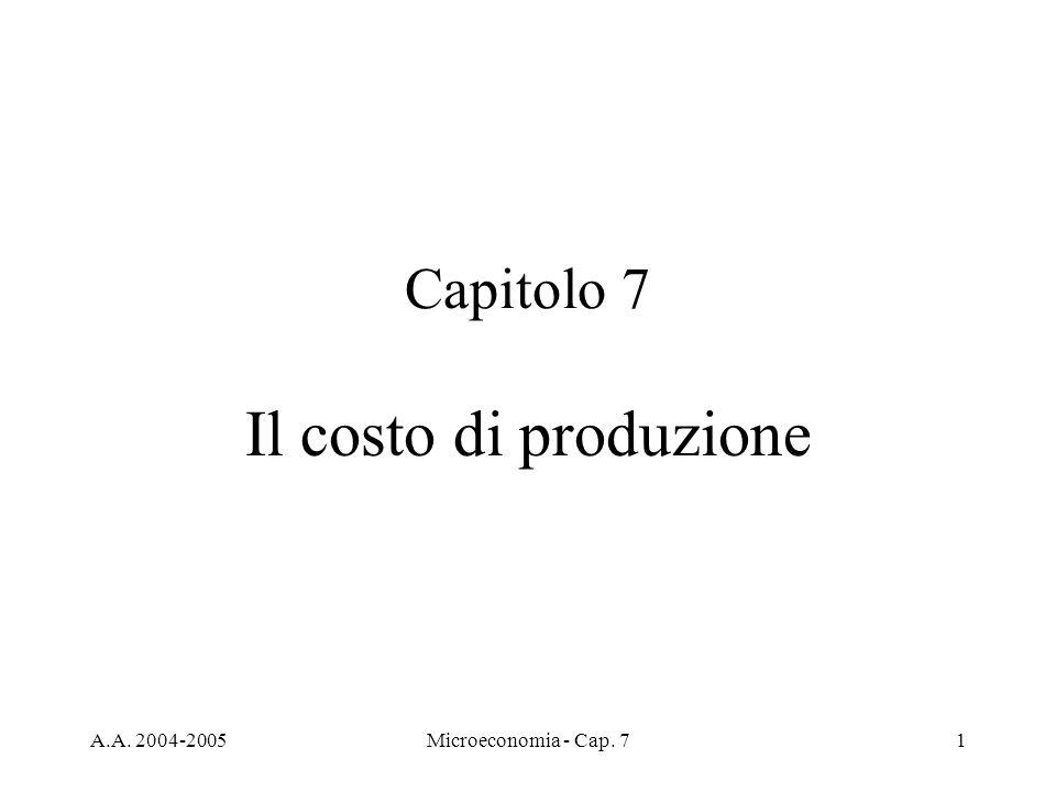 A.A. 2004-2005Microeconomia - Cap. 71 Capitolo 7 Il costo di produzione