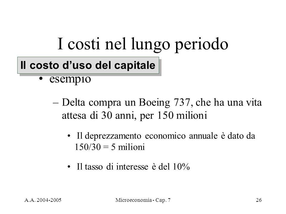 A.A. 2004-2005Microeconomia - Cap. 726 I costi nel lungo periodo esempio –Delta compra un Boeing 737, che ha una vita attesa di 30 anni, per 150 milio