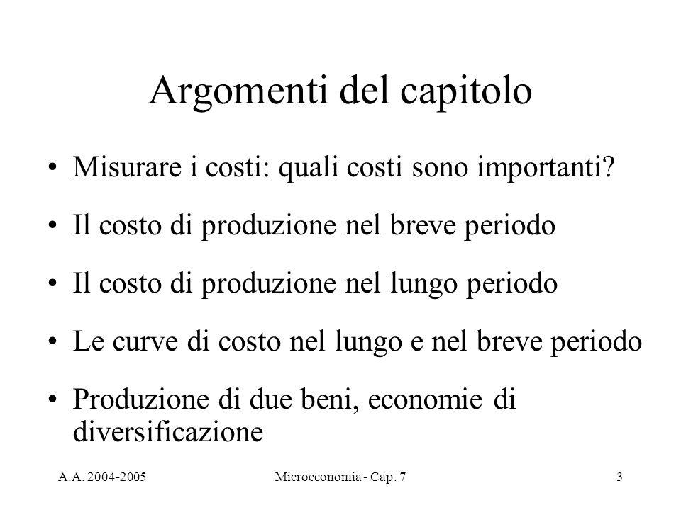 A.A. 2004-2005Microeconomia - Cap. 73 Argomenti del capitolo Misurare i costi: quali costi sono importanti? Il costo di produzione nel breve periodo I