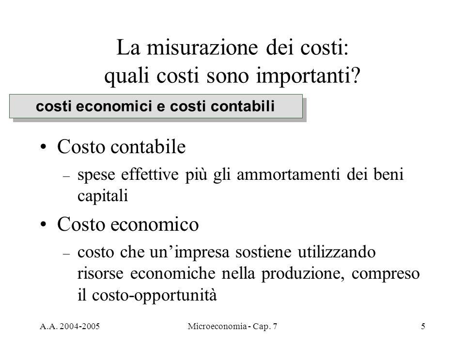 A.A. 2004-2005Microeconomia - Cap. 75 La misurazione dei costi: quali costi sono importanti? Costo contabile – spese effettive più gli ammortamenti de