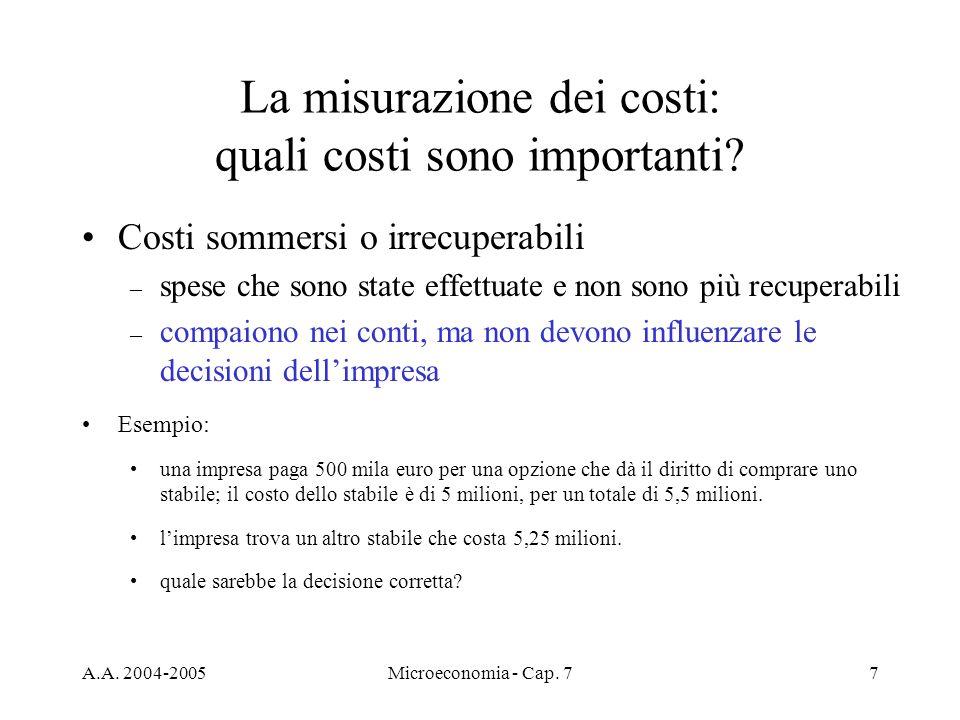 A.A. 2004-2005Microeconomia - Cap. 77 La misurazione dei costi: quali costi sono importanti? Costi sommersi o irrecuperabili – spese che sono state ef