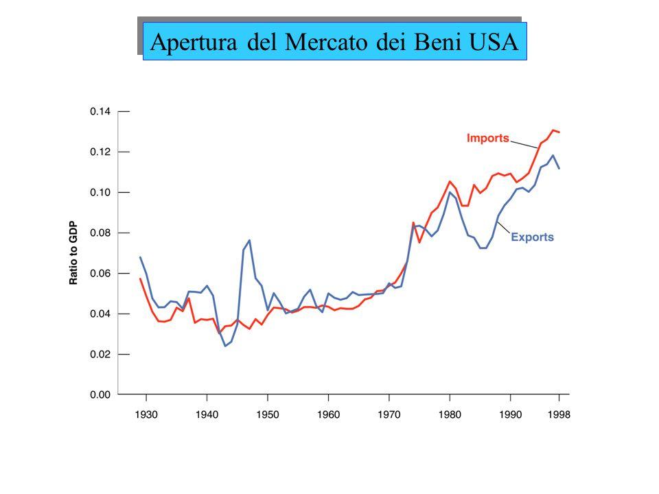 Volume di commercio: Rapporto tra Esportazioni (o Import) e PIL (U.S.=12%) Beni Commerciabili: Percentuali di prodotti che competono nel mercato con beni internazionali (U.S.=60%) Come si misura lapertura internazionale.