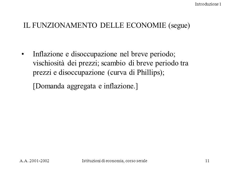 Introduzione 1 A.A. 2001-2002Istituzioni di economia, corso serale11 IL FUNZIONAMENTO DELLE ECONOMIE (segue) Inflazione e disoccupazione nel breve per