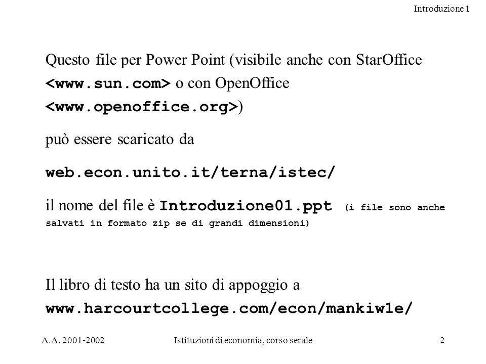 Introduzione 1 A.A. 2001-2002Istituzioni di economia, corso serale2 Questo file per Power Point (visibile anche con StarOffice o con OpenOffice ) può
