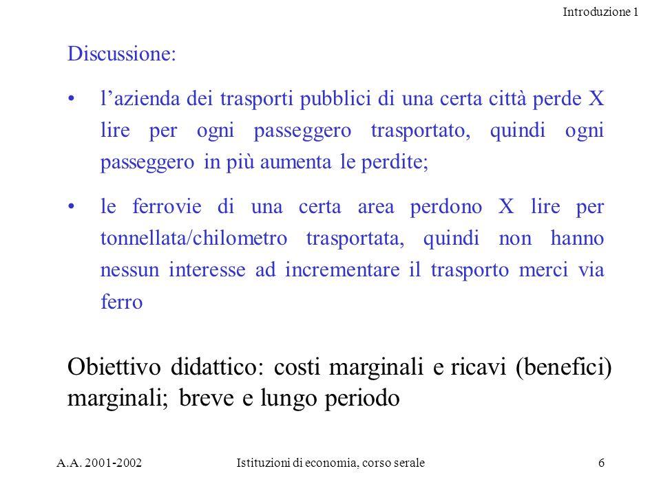 Introduzione 1 A.A. 2001-2002Istituzioni di economia, corso serale6 Discussione: lazienda dei trasporti pubblici di una certa città perde X lire per o