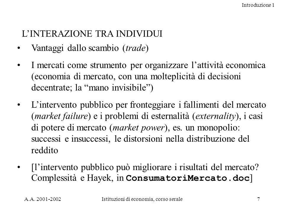 Introduzione 1 A.A. 2001-2002Istituzioni di economia, corso serale7 LINTERAZIONE TRA INDIVIDUI Vantaggi dallo scambio (trade) I mercati come strumento