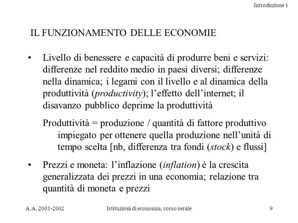 Introduzione 1 A.A. 2001-2002Istituzioni di economia, corso serale9 IL FUNZIONAMENTO DELLE ECONOMIE Livello di benessere e capacità di produrre beni e