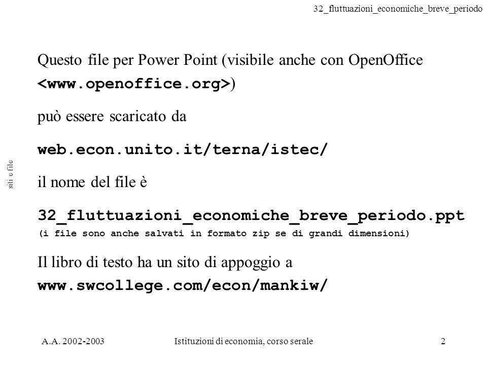 32_fluttuazioni_economiche_breve_periodo A.A. 2002-2003Istituzioni di economia, corso serale2 Questo file per Power Point (visibile anche con OpenOffi