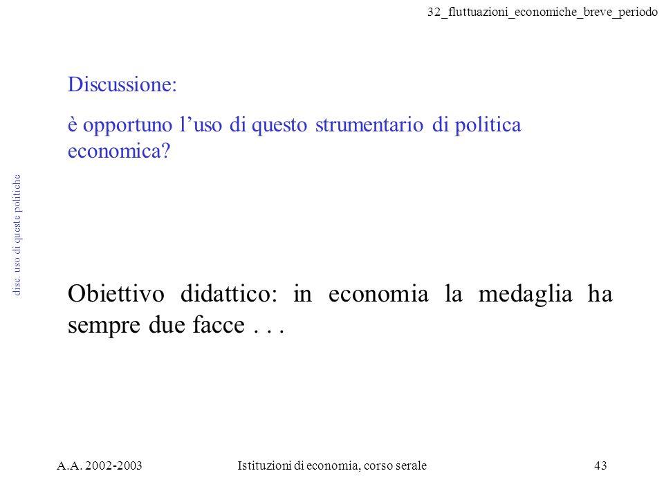 32_fluttuazioni_economiche_breve_periodo A.A. 2002-2003Istituzioni di economia, corso serale43 disc. uso di queste politiche Discussione: è opportuno