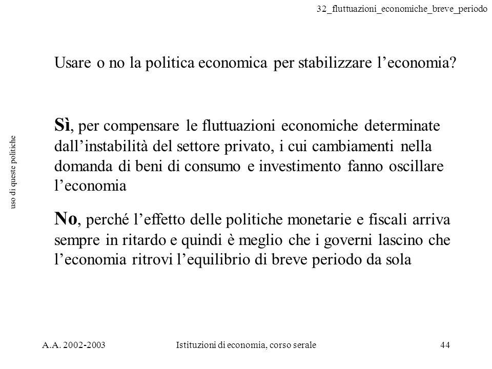 32_fluttuazioni_economiche_breve_periodo A.A. 2002-2003Istituzioni di economia, corso serale44 uso di queste politiche Usare o no la politica economic