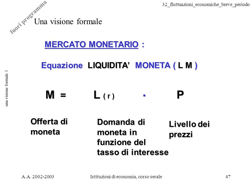 32_fluttuazioni_economiche_breve_periodo A.A. 2002-2003Istituzioni di economia, corso serale47 una visione formale 1 Una visione formale MERCATO MONET