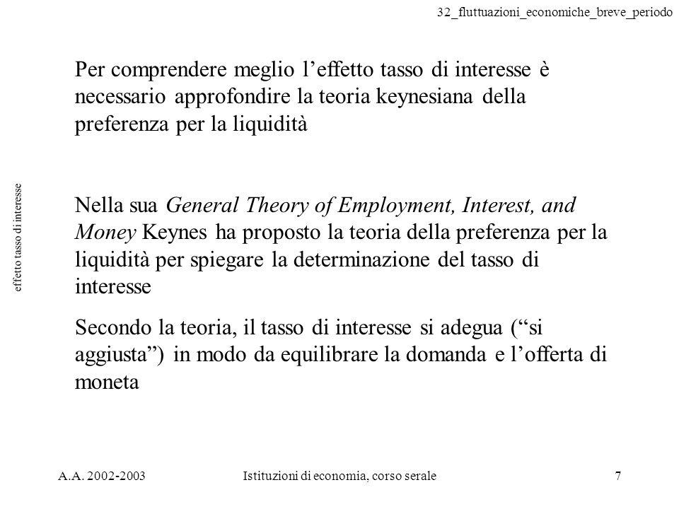 32_fluttuazioni_economiche_breve_periodo A.A. 2002-2003Istituzioni di economia, corso serale7 effetto tasso di interesse Per comprendere meglio leffet