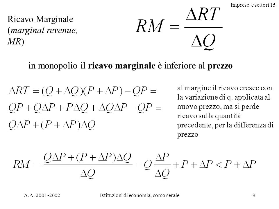 Imprese e settori 15 A.A. 2001-2002Istituzioni di economia, corso serale9 Ricavo Marginale (marginal revenue, MR) in monopolio il ricavo marginale è i