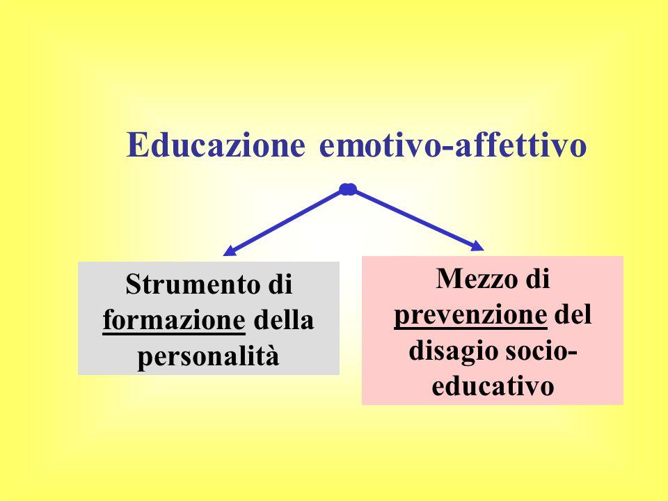Educazione emotivo-affettivo Strumento di formazione della personalità Mezzo di prevenzione del disagio socio- educativo
