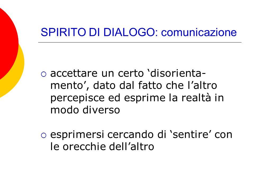 SPIRITO DI DIALOGO: comunicazione accettare un certo disorienta- mento, dato dal fatto che laltro percepisce ed esprime la realtà in modo diverso espr