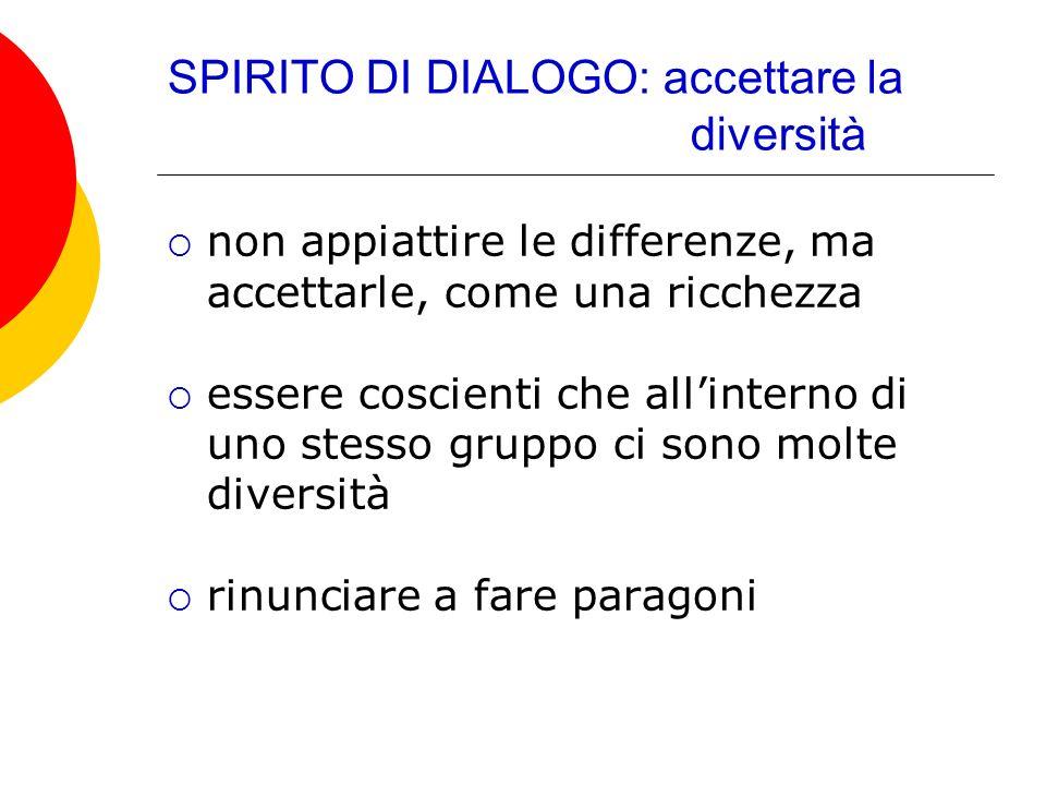 SPIRITO DI DIALOGO: accettare la diversità non appiattire le differenze, ma accettarle, come una ricchezza essere coscienti che allinterno di uno stes