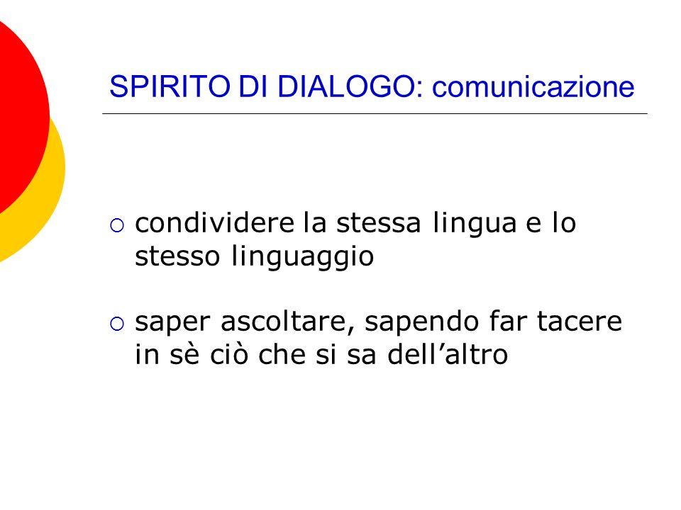 SPIRITO DI DIALOGO: comunicazione condividere la stessa lingua e lo stesso linguaggio saper ascoltare, sapendo far tacere in sè ciò che si sa dellaltr