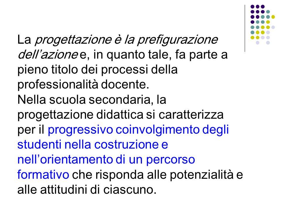 La progettazione è la prefigurazione dellazione e, in quanto tale, fa parte a pieno titolo dei processi della professionalità docente. Nella scuola se